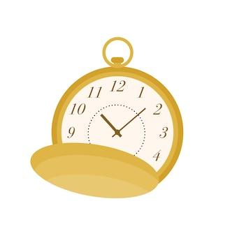 회중 시계 평면 벡터 일러스트 레이 션. 레트로 액세서리, 스타일리시한 아이템. 클래식 빈티지 시계 색상 디자인 요소입니다. 시간 카운터, 원형 조끼 주머니 시계 흰색 배경에 고립.