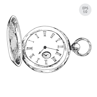 Pocket watch in retro style isolated on white. in sketch style.