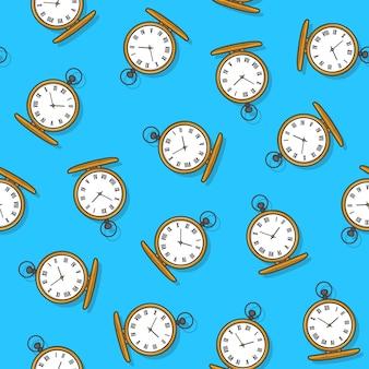 青い背景の懐中時計のシームレスなパターン。古い金の時計のテーマのベクトル図