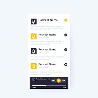 팟캐스트 앱 및 플레이어, 모바일 ui 디자인, 벡터 인터페이스