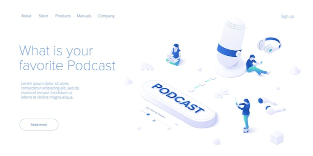 Podcast application concept in isometric. digital broadcasting or online streaming service