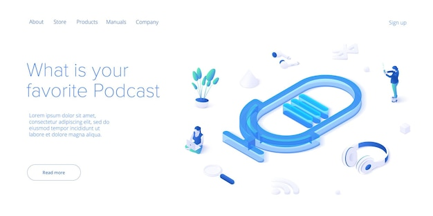 Podcast application concept in isometric  digital broadcasting or online streaming service