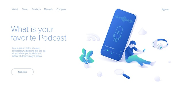 Podcast application concept in isometric vector illustration.