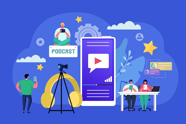 Podcast audio radio concept, illustration. flat people character with microphone, communication technology for record voice