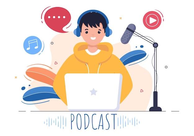 팟캐스트 배경 벡터 일러스트레이션 헤드셋을 사용하여 오디오, 호스트 인터뷰 게스트 또는 녹음 장비 및 마이크 개념으로 온라인 쇼를 녹음하는 사람들