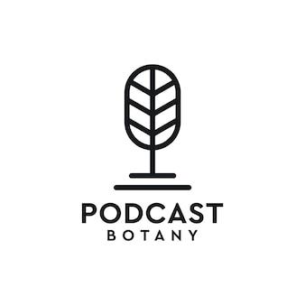 Podcast botany with leaf theme simple logo design