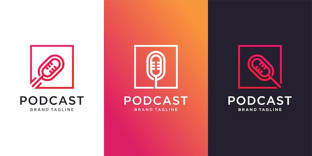 Podcast box logo template with different element concept premium vector