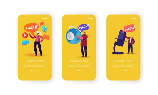 Podcast broadcast or audioprogram livestream mobile app page onboard screen template. tiny characters with huge headset near microphone and earth globe concept. cartoon people vector illustration