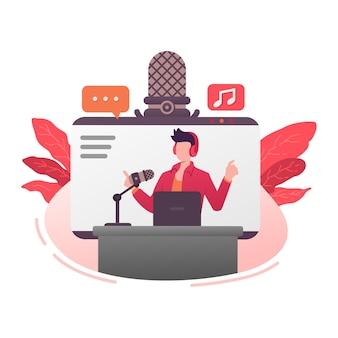Подкаст трансляция микрофонное голосовое шоу