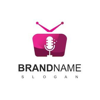 Podcast channel logo design template