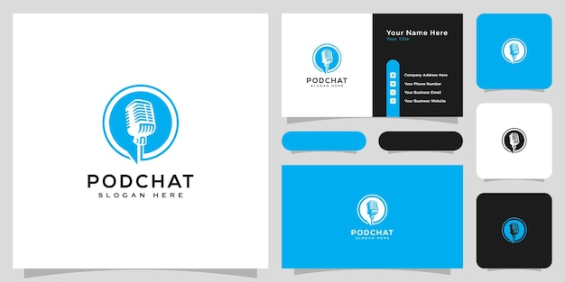 Podcast chat logo vector design and business card