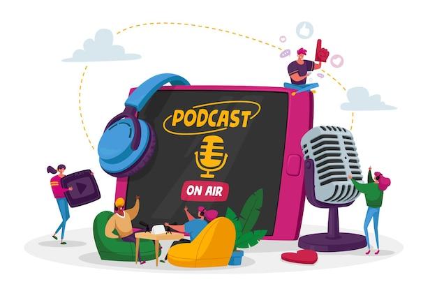 ポッドキャスト、コミックトーク、またはオーディオプログラムのオンライン放送のコンセプト。