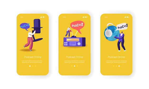 ポッドキャスト、コミックトークプログラムモバイルアプリページオンボード画面テンプレート。マイク、ラジオ、ヘッドセットオーディオライブストリーム放送のコンセプトを持つ小さなキャラクター。漫画の人々のベクトル図