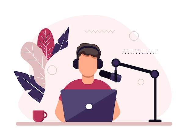 팟 캐스트 개념 그림입니다. 스튜디오에서 마이크 녹음 팟 캐스트에 얘기하는 남성 팟 캐스터.