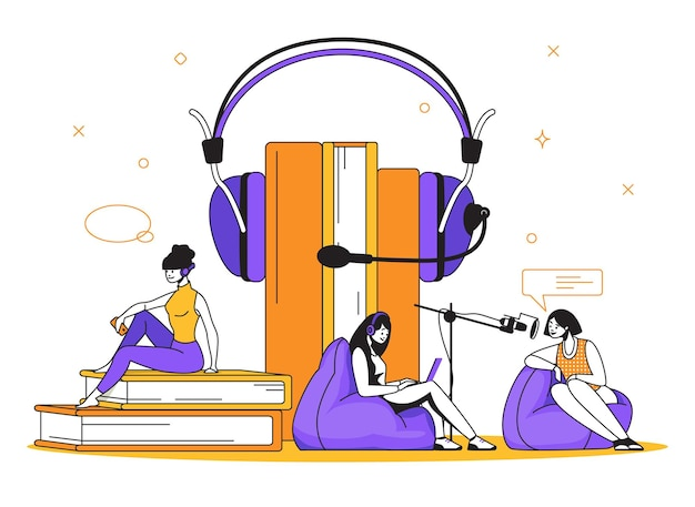 ポッドキャストのコンセプト。インタビューラジオとオンライン放送、オンライン教育とトレーニング