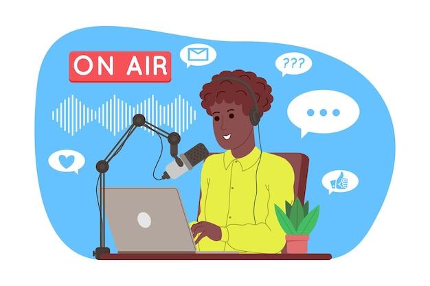 팟캐스트 개념입니다. 팟캐스트 만화 그림입니다. podcaster는 마이크에서 말하고 오디오 podcast 또는 온라인 쇼를 녹음합니다. 라디오 발표자는 라디오에서 방송합니다. 벡터 평면 그림입니다.