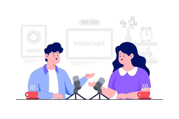 Podcast concept vector flat illustration
