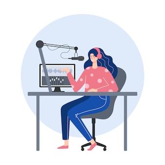 Концепция подкаста. женщина в наушниках записывая подкаст в студии. плоская иллюстрация.