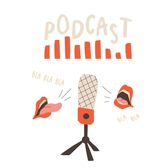 Podcast cover studio microphone on a stand sound wave and open speaking mouths