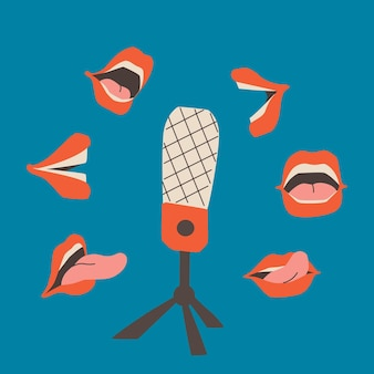 Podcast cover with blue background studio microphone on a stand and open speaking mouths around