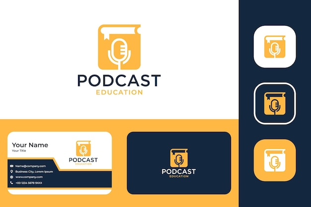 Podcast education with book logo design and business card