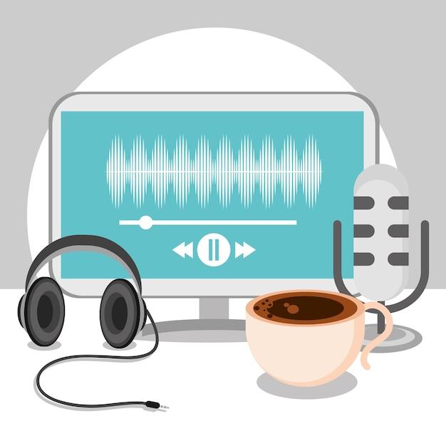 ポッドキャスト機器とコーヒーカップ