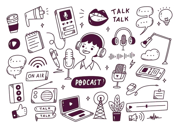 Podcast equipment in doodle style illustration