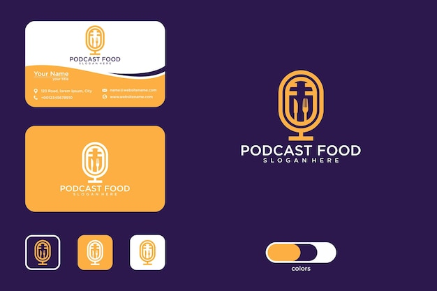 Podcast food logo design and business card