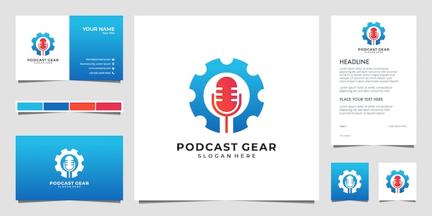 Podcast gear logo design and business card