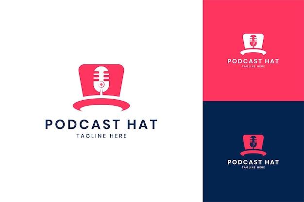 팟캐스트 모자 네거티브 스페이스 로고 디자인