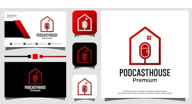 Podcast home audio music logo design vector