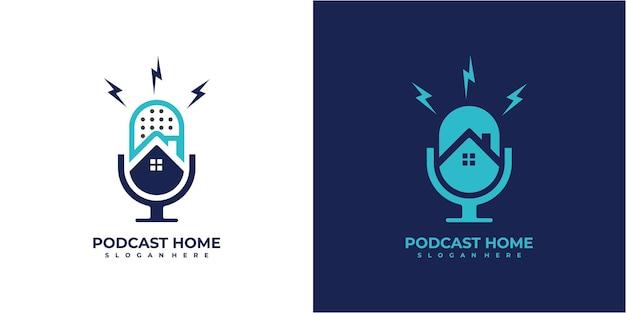 Podcast home and thunder icon for logo podcast. podcast logo design concept