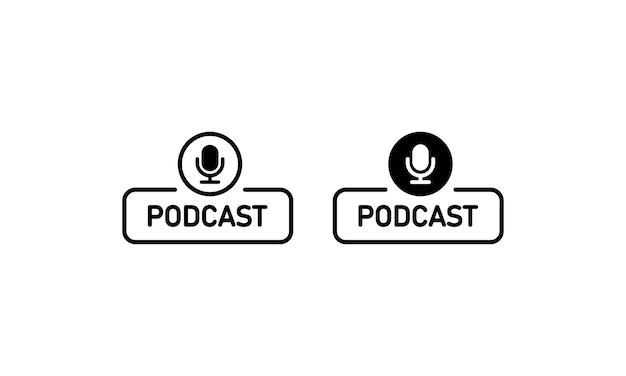 黒のポッドキャストアイコン。マイクサイン。レコーディングスタジオのシンボル。ベクトルeps10。白い背景で隔離。