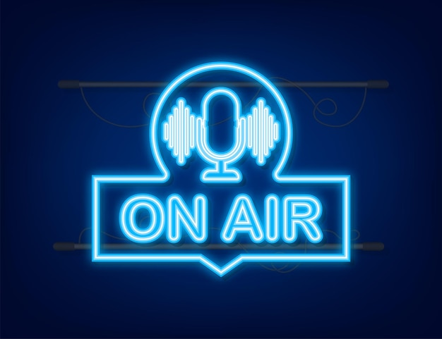 Podcast icon like on air live podcast badge icon stamp logo radio broadcasting or streaming