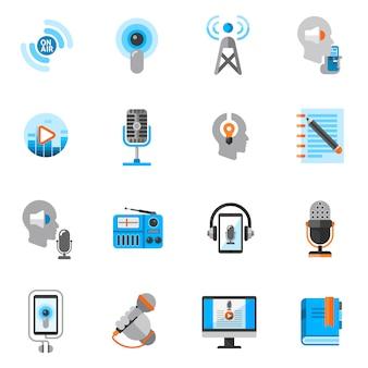 Podcast icons flat set