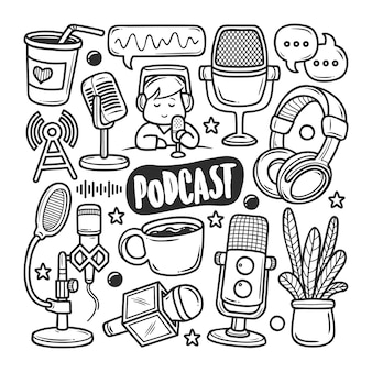 Podcast icons hand drawn doodle coloring