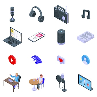 Podcast icons set, isometric style