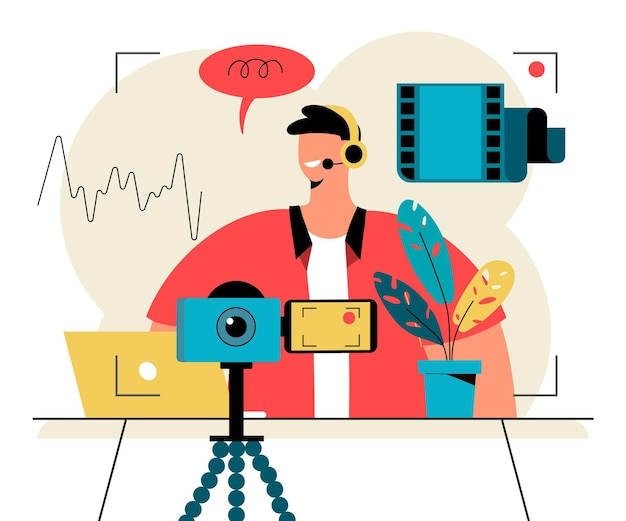 Podcast influencer illustration