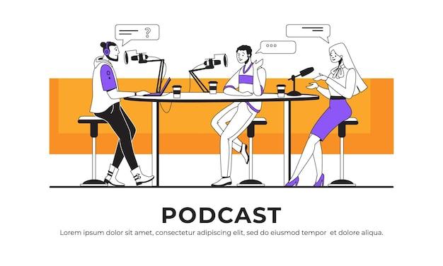 ポッドキャストインタビュー。ブロガーまたはラジオのホストがゲストにインタビューし、オンラインでストリーミングし、インタビューのコンセプトを放送します。インターネットまたはラジオ番組を録音するベクトル画像ポッドキャスト