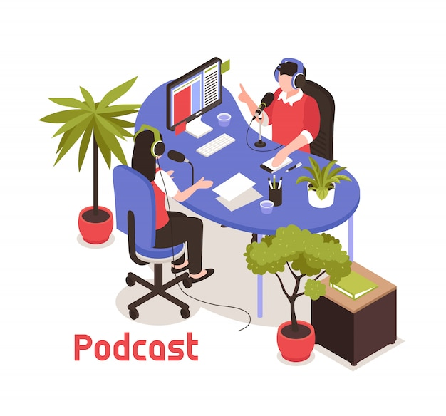 Podcast isometric  with two  bloggers recording soundtrack in studio