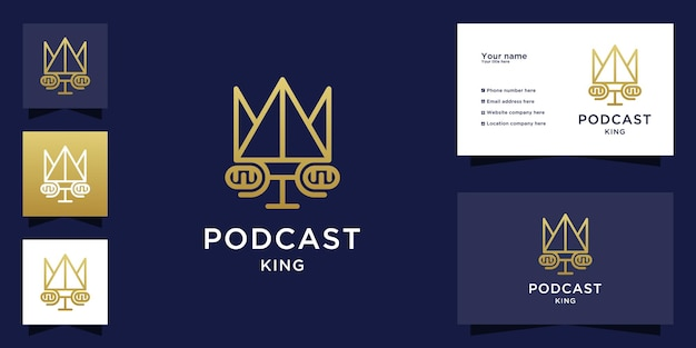 Podcast king logo with people face and business card