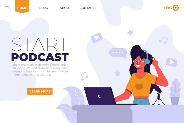 일러스트레이션이있는 팟 캐스트 방문 페이지