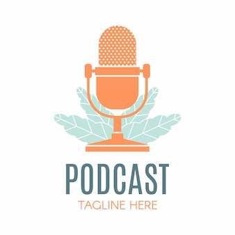 Podcast leaf nature ecology vector logo design podcast talk show logo with mic and leaves