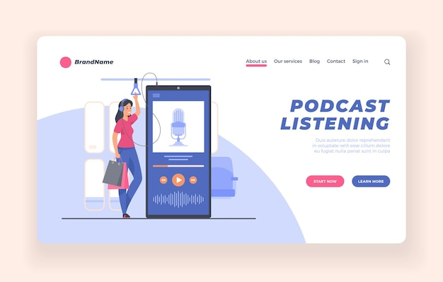 Podcast listener webinar online training audiobook concept