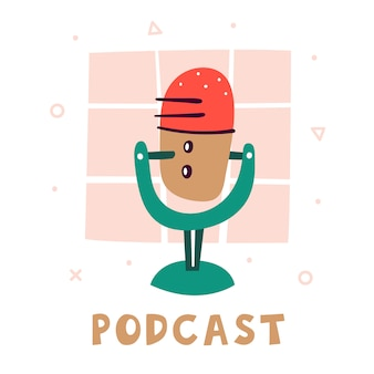 Podcast. little cute red microphone with a green stand. accessory for voice recording. blogger attribute. technologies. flat colourful   illustration