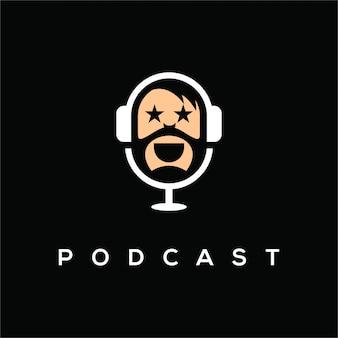 ポッドキャストチャンネルのシンプルでユニークなロゴであるポッドキャストロゴ、デザイン要素