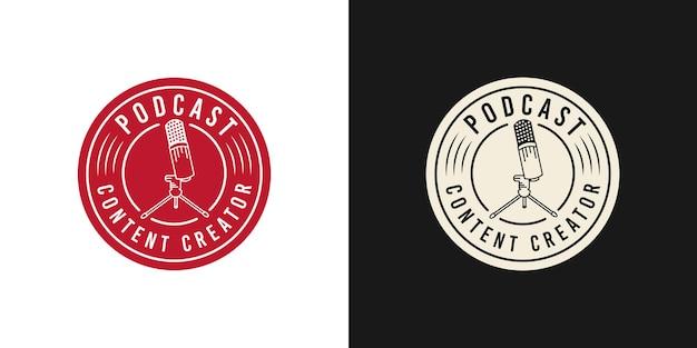 흰색 또는 검은색 배경 템플릿의 팟캐스트 로고 디자인
