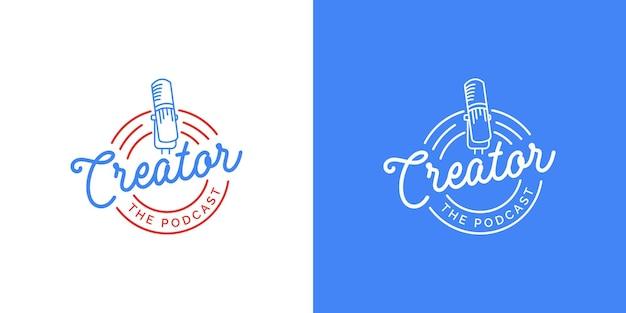 흰색 또는 파란색 배경 템플릿의 팟캐스트 로고 디자인