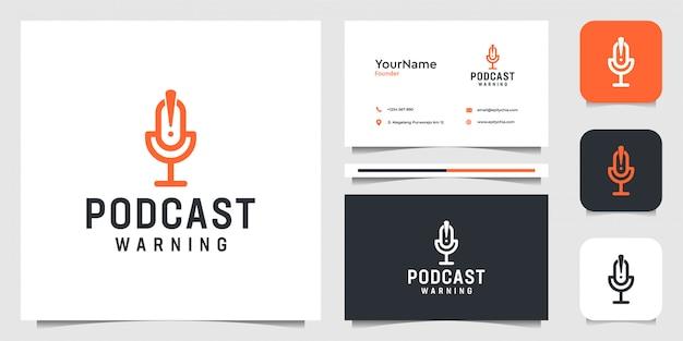 ポッドキャストのロゴ。ストリーミング、マイク、ビジネス、会社、名刺に最適