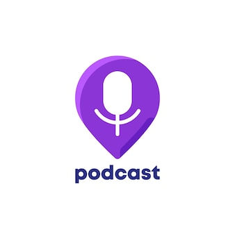 Podcast logo icon with pin marker on white